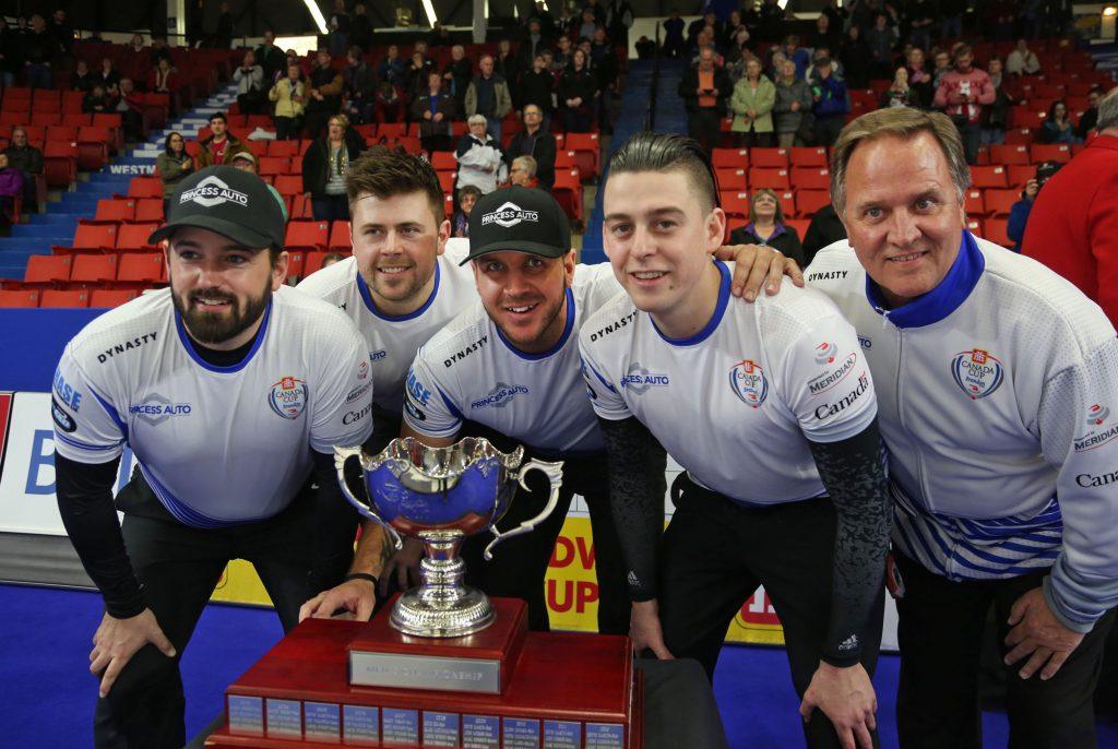 Reid Carruthers (left), Braeden Moskowy, Derek Samagalski, Colin Hodgson and Dan Carey pose with the trophy after winning the mens final in the Canada Cup of curling, Sunday evening at the Keystone Centre. (Colin Corneau/Brandon Sun)